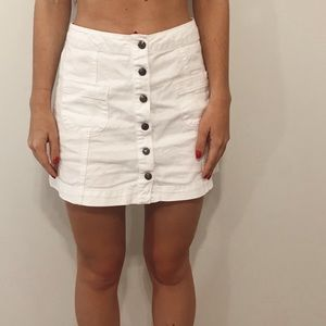 Forever 21 White Button Up Jean Skirt